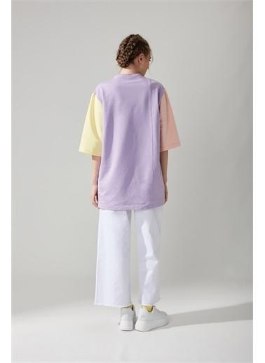Mizalle Yazı Baskılı Mint T-shirt Renkli
